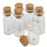 """Small Glass Mini Bottles of 1.5"""" length 24pk Charms Favors Weddings with Cork Top"""