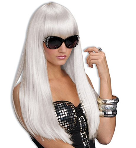 white hot angelic elven silver costume wig