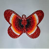 Hand Beaded Butterfly Hair Barrette Large (red)