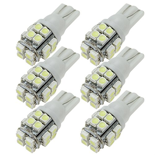 Muchbuy 6X T10 20 Smd1210 Led White Super Bright Car Lights Bulb