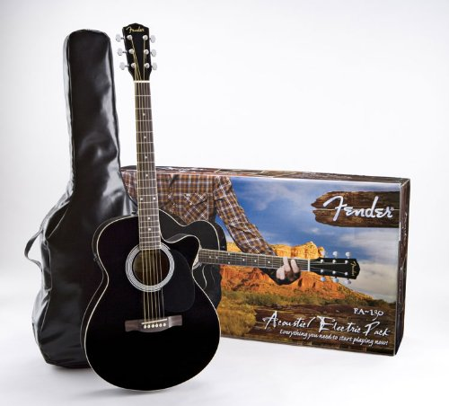 Fender FA-130 Acoustic-Electric Guitar Pack, Black $189.99