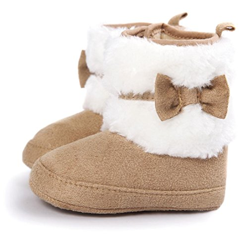 Voberry® Baby Toddler Girls Boys Winter Warm Snow Boot Fur Trimmed Boots Outdoor (0~6Month, Khaki)