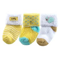 3-Pack Terry Socks, Yellow Sheep
