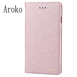 iPhone 5s / iPhone 5SE Case, Aroko Card Holder Stand Leather Wallet Case - Silk Flip Cover for iPhone5/5SE (Pink)