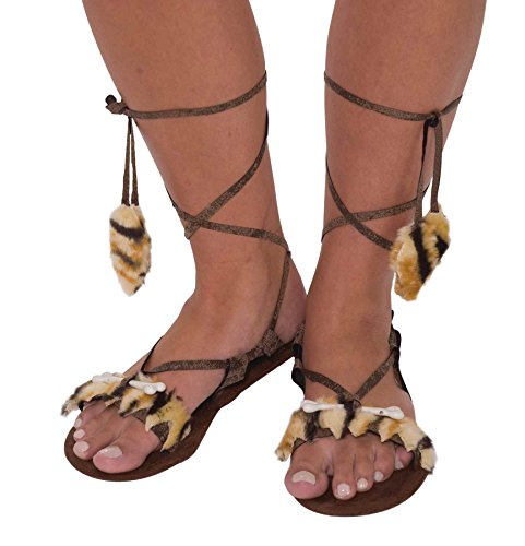 Forum Novelties Women's Stone Age Costume Sandals, Brown, One Size - 1