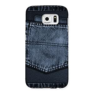 Enticing Navy Jeans Pocket Back Case Cover for Samsung Galaxy S6