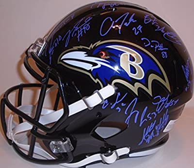 2015 Baltimore Ravens Team Autographed / Signed Riddell Full Size Speed Style Football Helmet with 35 Signatures Total, Proof Photos
