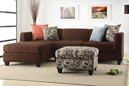 Furniture2go F7182 Everest Dark chocolate Microfiber Sectional Sofa - Reversible Left/Right Chaise, 2-Seat Sofa, 4 Accent Pillows