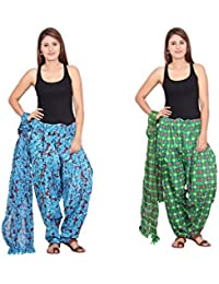 Rama Set Of 2 Printed Green & Red Colour Cotton Full Patiala With Dupatta Set