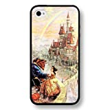 Disney Princess Belle - Beauty and The Beast, Personalized Hard Plastic Case for iPhone 4/4s - Black
