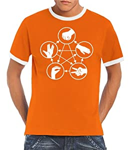 Touchlines Big Bang Theory Men's Ringer Contrast T-Shirt Stone Scissors Paper Lizard Spock orange/white Size:S