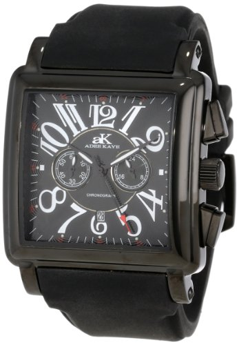 Adee Kaye Comfort Zone AK7231-MIPB 45.40x58mm Stainless Steel Case Black Silicone Mineral Men's Watch
