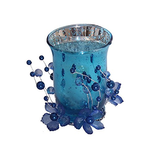 Devinez Decorative Scented Candles With Glass Holder, Blue