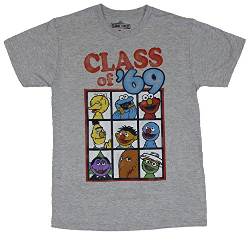 Sesame Street Mens T-Shirt - Class of 69 Boxed Character Images