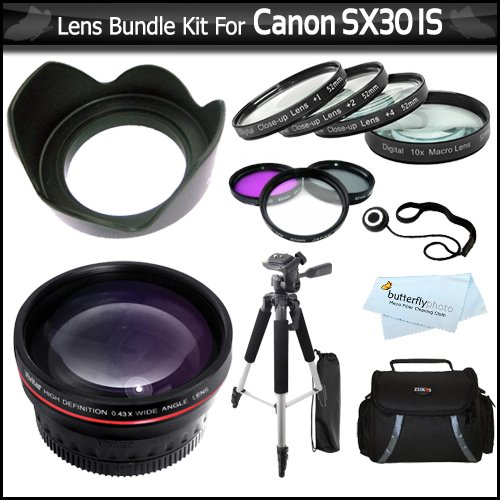 Lens Bundle Kit For The Canon SX30IS SX30 IS SX40HS SX40 HS Digital Camera Includes HD .45x Wide Angle Lens + 52MM Close Up Lens Kit Includes +1 +2 +4 +10 + 3pc High Res Filter Kit + Lens Hood + 57 Tripod + Deluxe Case + Lens Cap Keeper + More