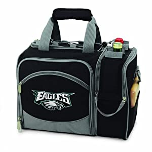 NFL Philadelphia Eagles Malibu Insulated Shoulder Pack with Deluxe Picnic Service for... by Picnic Time