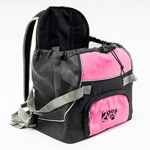 2PET-Doggie-Pocket-Front-Nylon-Pet-Carrier-Backpack-Dog-Travel-Bag-for-Small-Dog-or-Cat-Animal-Carry-Adjustable-Tote-Pouch-Cheerful-Pink