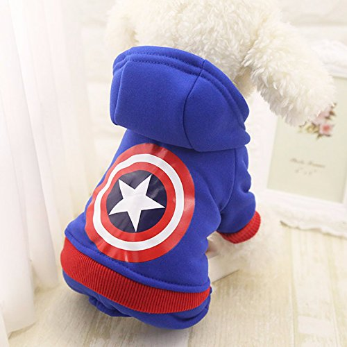 AFK Winter Pet Hooded Coat Small Dog Warm Superhero Festival Decoration Costumes Jacket Hoodie Hoody,Captain (Captain America Dog)