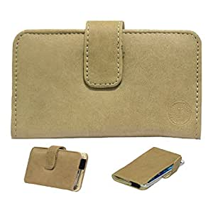 Jo Jo A8 Nillofer Leather Carry Case Cover Pouch Wallet Case For Spice Stellar 520 Beige