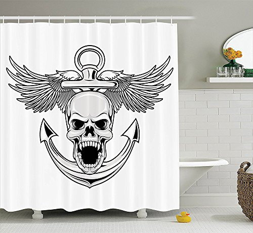 Anchor Decor Collection Skull with Anchor and Eagle Wings Freedom Symbol Devil Sea Hunter Skeleton Myth Graphic Polyester Fabric Bathroom Shower Curtain Grey White (Sea Devil Costume compare prices)