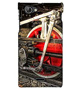 PrintHaat Designer Back Case Cover for Sony Xperia J :: Sony Xperia J ST26i :: Sony Xperia J ST26a  (old style train wheel in red :: engine of a train :: rail engine in red and black)