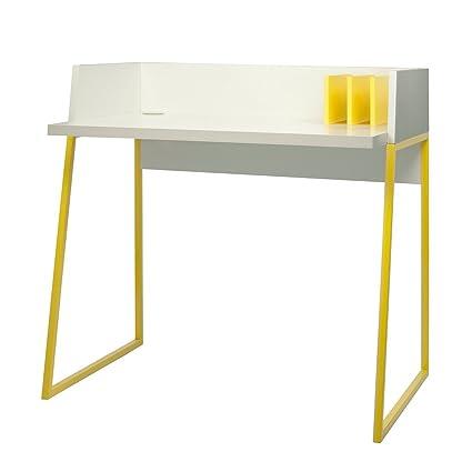TemaHome Schreibtisch weiß matt mit Ablagen Volga weiß/gelb
