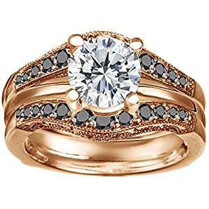0.75CT Black Cubic Zirconia Vintage Style Filigree and Milgraining Contour Ring Guard set in Rose Gold Plated Sterling Silver (0.75CT TWT Black Cubic Zirconia)