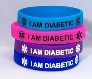 Silicone Diabetic Bracelet, 4 Pack, Bold Colors Medium (Regular Adult)