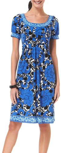 London Times Floral Pleated Bodice Dress BLUE 12
