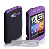 Dual Combo Hard And Soft Silicone Gel Case For The HTC Wildfire S Purple / Black With Screen Protector Film And Grey Micro-Fibre Polishing Clothby Yousave