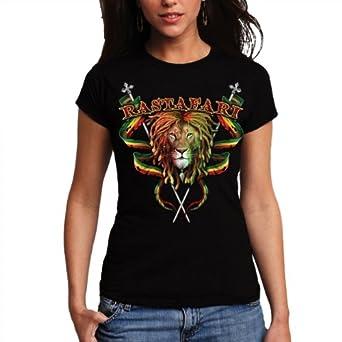 Wellcoda | Rastafari Bob Marley Rasta Reggae Funny Womens Ladies T-Shirt NEW Top 100% Cotton Tee XS-2XL Size Black XS