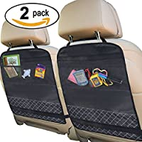 Best Kick Mats with Backseat Organizer (LUXURY 2 PACK) Pocket Storage For Your Back Seat - Fits Your Car, Truck, SUV, or Minivan - 100% Waterproof - Backseat Protection against Dirt, Mud, Snow, & Ice from BEST