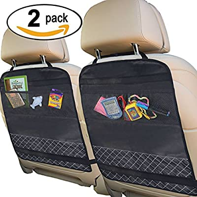 Best Kick Mats with Backseat Organizer (LUXORY 2 PACK) Pocket Storage For Your Back Seat - Fits Your Car, Truck, SUV, or Minivan - 100% Waterproof - Backseat Protection against Dirt, Mud, Snow, & Ice