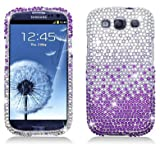 Waterfall Rhinestone Crystal Bling Diamond Hard Case for AT&T,Verizon,Sprint and T-mobile Samsung Galaxy S3 - Purple