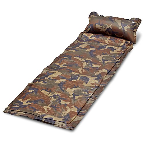Camo Self Inflate Air Mat Mattress Self-Inflating Pad Portable Single Bed With Built in Pillow Lightweight for Outdoor Camping Hiking Picnic Sleeping Napping Camouflage Pattern