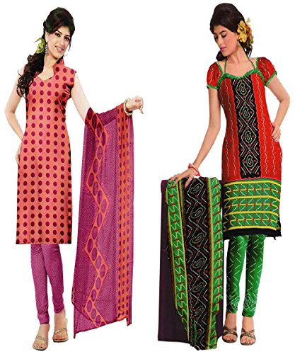 Araham Soft Crepe American Crepe Dress Material Unstitched Salwar Suit Pack Of 2 Combo No 115
