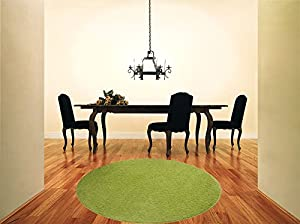 Shaggy Rug Lime Green 963 Plain 5cm Thick Soft Pile 120cm (4ft) Round Circle Modern 100% Berclon Twist Fibre Non-Shed Polyproylene Heat Set - AVAILABLE IN 6 SIZES by Quality Linen and Towels from Quality Linen and Towels