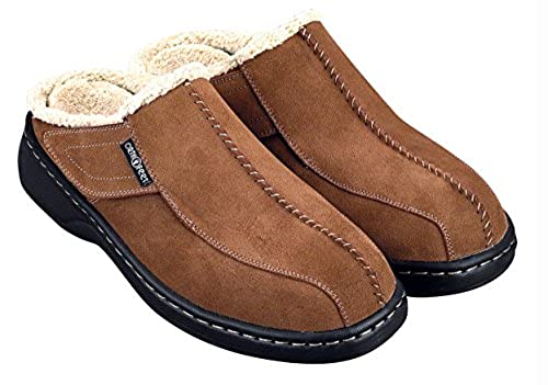 11. Orthofeet Asheville Mens Comfort Arthritis Diabetic Orthotic Brown Leather Slippers