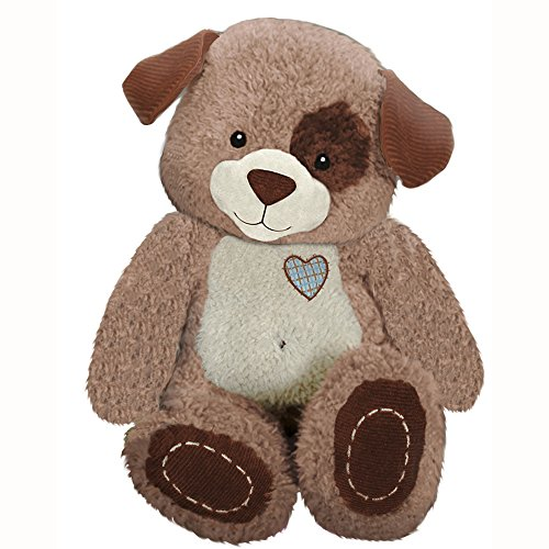 "First & Main 8"" Plush Stuffed Dog, White on Brown - 1"