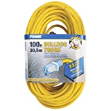 Prime Wire & Cable LT511735 100-Foot 14/3 SJTOW Bulldog Tough Extension Cord with PrimeLight Indicator Light, Yellow