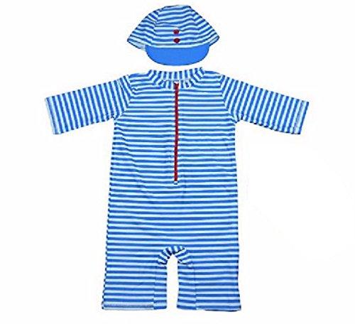 赤ちゃん の 敏感肌 を 守る 水着 ラッシュガード 男の子 帽子 付き (ストライプ 6T(105~115cm))