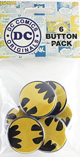 """Button set DC Comics Batman Yellow Logo 6 Individual Loose Buttons, 1.25"""""""