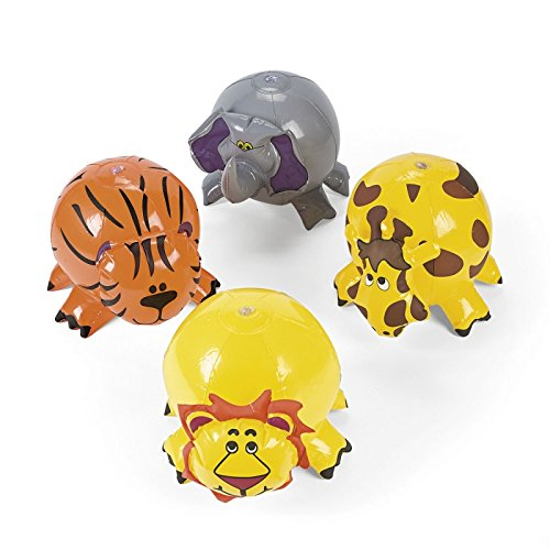 Set of 4 - Inflatable Jungle Animal Beach Balls