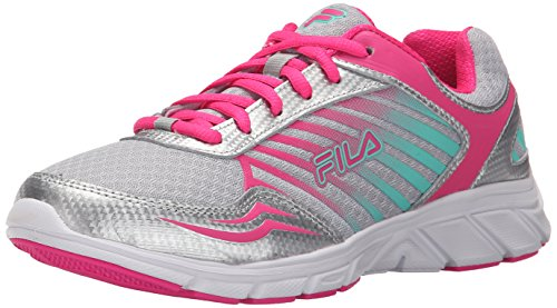 Fila Women's Gamble Running Shoe, Metallic Silver/Pink Glo/Cockatoo, 10 M US