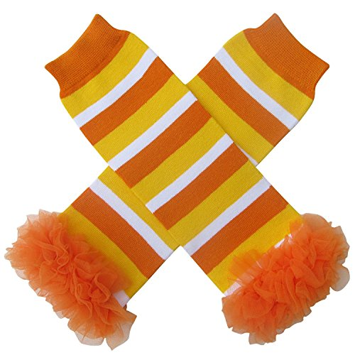 Chiffon Ruffle Halloween Costume Spooky Styles Leg Warmers - One Size - Baby, Toddler, Girl (Chiffon Candy Corn) (Candy Corn Leggings compare prices)