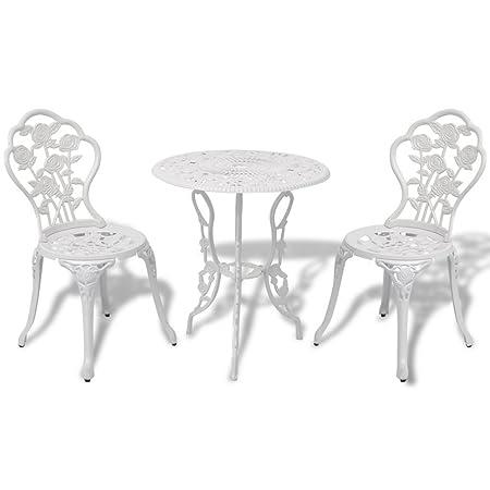 Gartenmöbel-Set Tisch + 2Stuhle Typ Bistrot Farbe Weiß