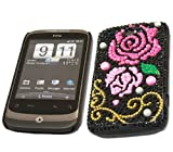 ITALKonline FunkGem BLACK PINK ROSE Diamonte Crystals Super Hydro Gel Protective Armour/Case/Skin/Cover/Shell for HTC WildFire Wild Fire G8