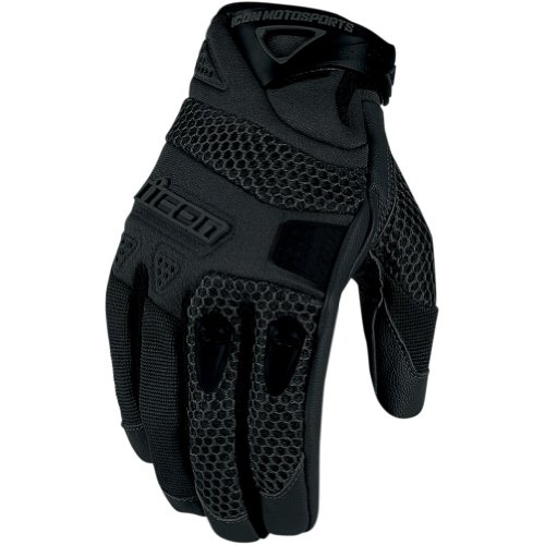 Icon Anthem Men's Leather/Mesh Streetbike Motorcycle Gloves - Black / 2X-Large