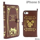 docomo au SoftBank iPhone5 iPhone5S iPhone5C 対応 ディズニー キャラクター レザー ケース カバー Old Book Case ミッキー&ミニー (ブラウン)