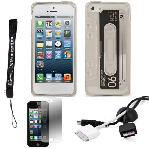White/Clear Tpu Audio Cassette Protective Skin For Apple Iphone 5 Ios (6) Smart Phone + Black Cord Organizer + Apple Iphone 5 Screen Protector + An Ebigvalue Tm Determination Hand Strap